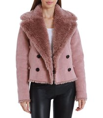 cropped faux shearling peacoat