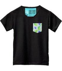 camiseta masculina algodão bolso estampa folha conforto - masculino