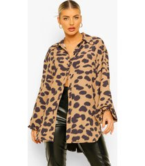 oversized dierenprint blouse, brown