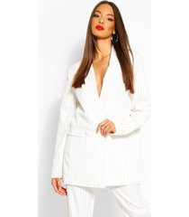 oversized dad fit tailored pinstripe blazer, ivory