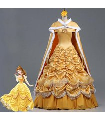 belle ccostume adult princess belle cosplay halloween party dress and cloak