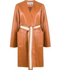 loewe tie-fastening coat - brown
