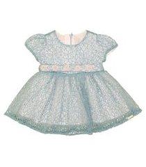 vestido calcinha manga balone saia franzida com cinto azul
