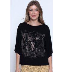 blusa bisã´ tiger preta - preto - feminino - viscose - dafiti