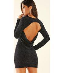 yoins negro plateado sin espalda de punto diseño redondo cuello mangas largas vestido