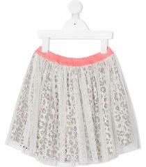billieblush leopard-print mesh-overlay skirt - white