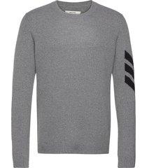 kennedy c arrow sweater cashmere intarsia stickad tröja m. rund krage grå zadig & voltaire