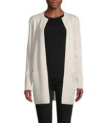 saks fifth avenue women's open-front cotton-blend cardigan - silver heather - size l