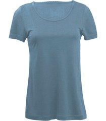 zijden-shirt met korte mouwen uit organic silk, rookblauw 34