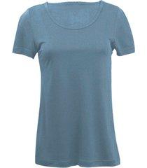 zijden-shirt met korte mouwen uit organic silk, rookblauw 44/46
