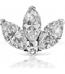 3mm diamond lotus earring stud - white gold