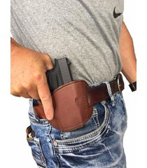 pro-tech right handed brown leather belt gun holster for kahr cw45