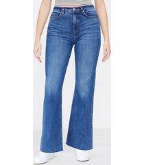 loft curvy fresh cut high rise sandal flare jeans in dark classic indigo wash