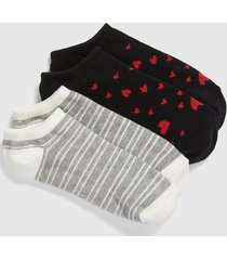 lane bryant women's 2-pack ankle socks - hearts & stripes onesz red