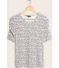 camiseta floral manga ¾ blanco 8