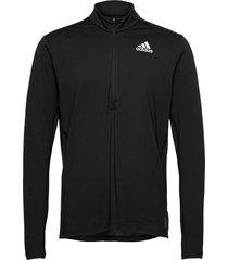 own the run 1/2 zip long sleeve tee sweat-shirt tröja svart adidas performance