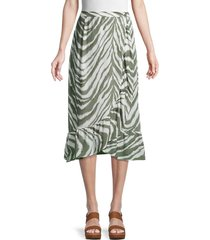 french connection women's tiger-print wrap skirt - olive white - size 10