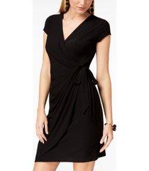 inc cap-sleeve faux-wrap dress, created for macy's