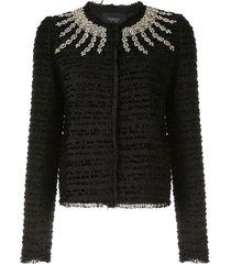 giambattista valli rhinestone-embellished tweed jacket - black
