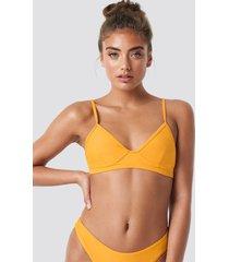 na-kd swimwear cup shape bikini top - yellow
