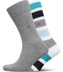 th men sock 2p colorblock stripe underwear socks regular socks grå tommy hilfiger