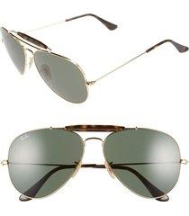 ray-ban 62mm aviator sunglasses in gold/dark green at nordstrom