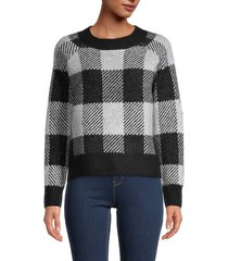 rd style women's buffalo check-print knitted sweater - black grey combo - size l