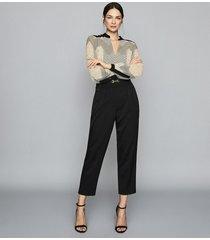 reiss zanna - zig-zag printed blouse in black/neutral, womens, size 12