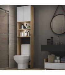 armã¡rio banheiro para vaso sanitã¡rio com 2 leds e 2 portas multimã³veis rustic/branco - marrom - dafiti