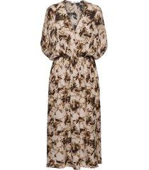 andina long dress aop 8083 knälång klänning brun samsøe samsøe