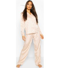 tonal satin button through pyjama trouser set, blush