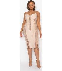 akira plus love it lace up midi bandage dress