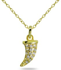 cubic zirconia horn pendant in 18k gold plated sterling silver