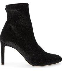 embellished velvet heeled sock booties