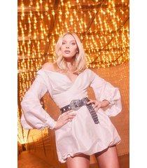 taffeta oversized sleeve off the shoulder dress, white