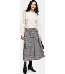 gray check tiered midi skirt - grey
