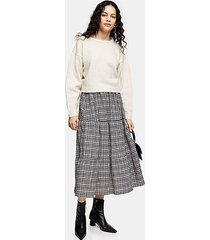 gray check tiered midi skirt - grey
