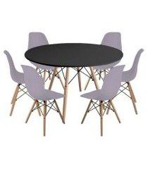 kit mesa jantar eiffel 120cm preta + 6 cadeiras charles eames - cinza
