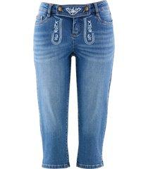 folkdräktsinspirerade jeans med broderi, 3/4-längd