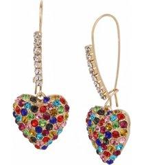 betsey johnson pave heart dangle earrings