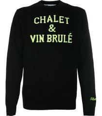 mc2 saint barth black sweater chalet & vin brulé fluo print
