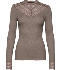 silk t-shirt regular ls w/wide lace t-shirts & tops long-sleeved bruin rosemunde
