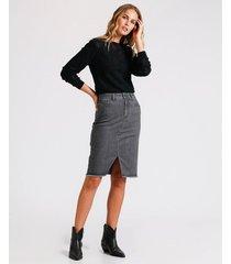 falda en denim pencil gray