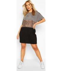 plus leopard contrast panel t-shirt dress, charcoal