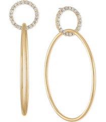 rachel rachel roy gold-tone pave double-hoop drop earrings