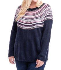 fever plus size fair isle sweater
