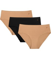 women's evelyn & bobbie assorted 3-pack hipster panties, size one size - beige