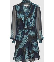 reiss aurelie - printed midi dress in multi, womens, size 14