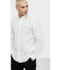calvin klein button down cotton linen shirt skjortor white