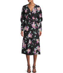 a.l.c. women's quinn floral wrap dress - black purple - size 0